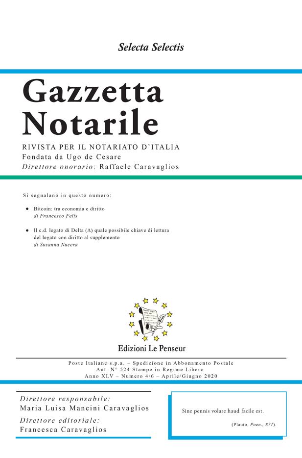 Gazzetta Notarile, Fascicolo Aprile – Giugno 2020