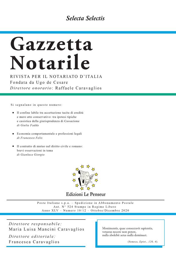 Gazzetta Notarile, Fascicolo Ottobre-Dicembre 2020