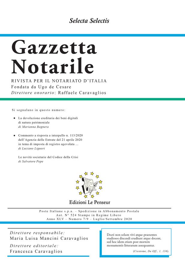 Gazzetta Notarile, Fascicolo Luglio – Settembre 2020