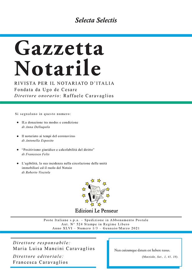 Gazzetta Notarile, Fascicolo Gennaio-Marzo 2021